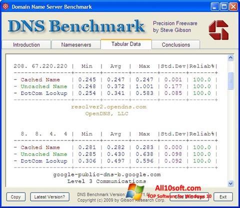 Screenshot DNS Benchmark Windows 10