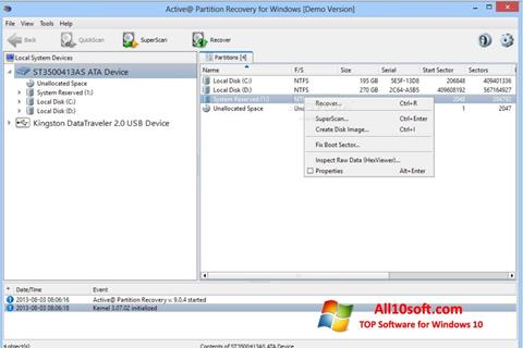 Screenshot Active Partition Recovery Windows 10