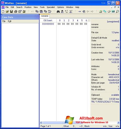 Screenshot WinHex Windows 10
