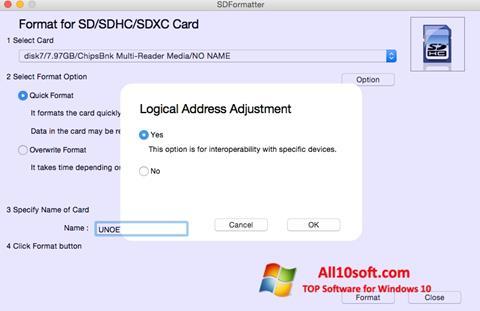 Screenshot SDFormatter Windows 10