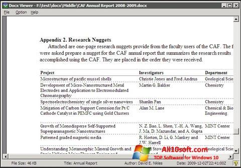 Screenshot DocX Reader Windows 10