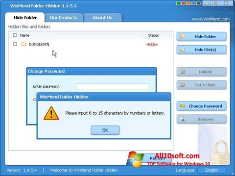 Screenshot Hide Folders Windows 10