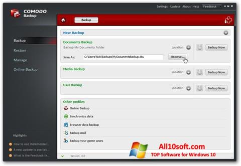 Screenshot Comodo BackUp Windows 10