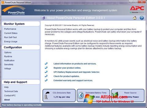 Screenshot PowerChute Personal Edition Windows 10
