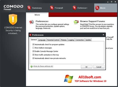 Screenshot Comodo Firewall Windows 10