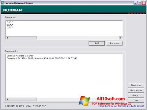 Screenshot Norman Malware Cleaner Windows 10