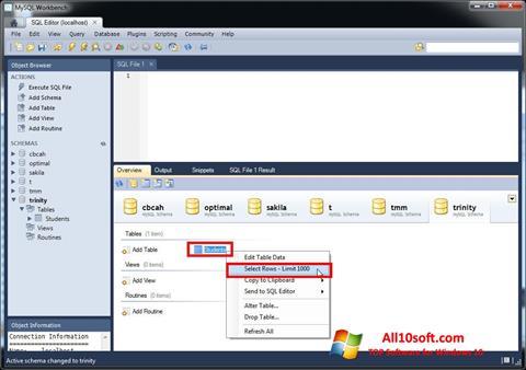 Screenshot MySQL Workbench Windows 10
