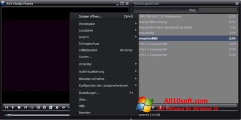 Screenshot AVS Media Player Windows 10