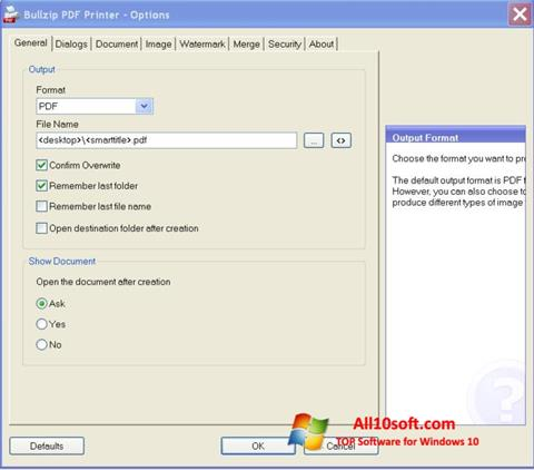 Screenshot BullZip PDF Printer Windows 10